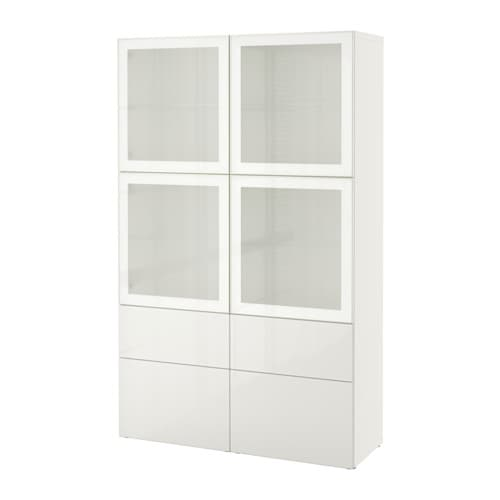 BESTÅ - Storage combination w glass doors, White/selsviken high-gloss/white frosted glass