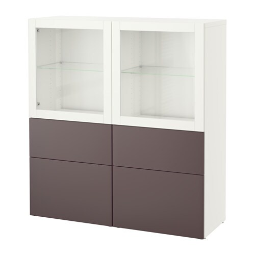 Best vitrina blanco valviken vidrio transparente marr n - Ikea pinzas cocina ...