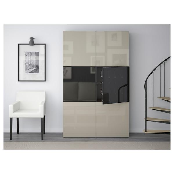 BESTÅ Vitrina, negro-marrón/Selsviken altobrill/vidrio ahumado beige, 120x42x193 cm
