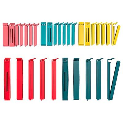 BEVARA Pinza para bolsas 30 unidades, colores variados/medidas variadas