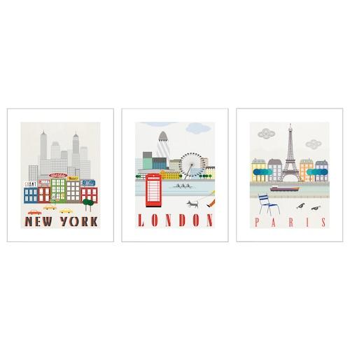BILD lámina Londres, París, Nueva York 40 cm 50 cm 3 unidades