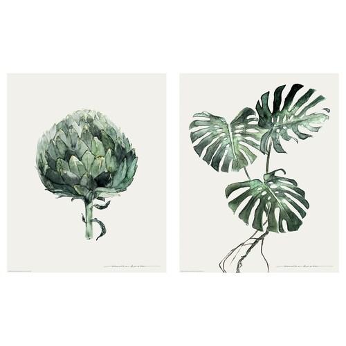 BILD lámina hojas verdes 40 cm 50 cm 2 unidades