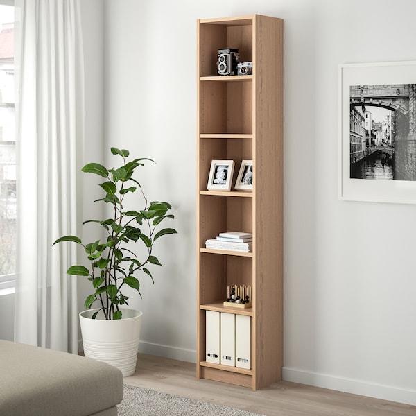 BILLY Librería, chapa roble tinte blanco, 40x28x202 cm