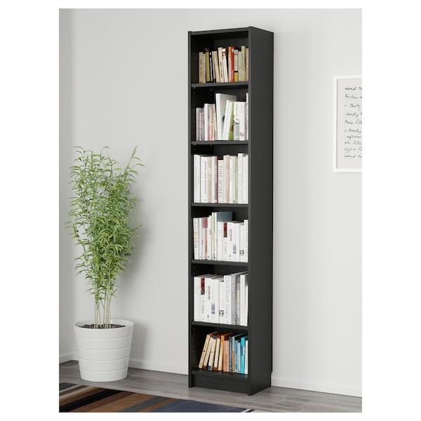 BILLY Librería, negro-marrón, 40x28x202 cm