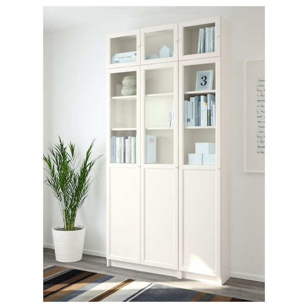 BILLY / OXBERG Librería, blanco/vidrio, 120x30x237 cm