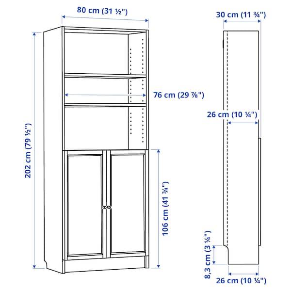BILLY / OXBERG Librería con puertas, blanco, 80x30x202 cm