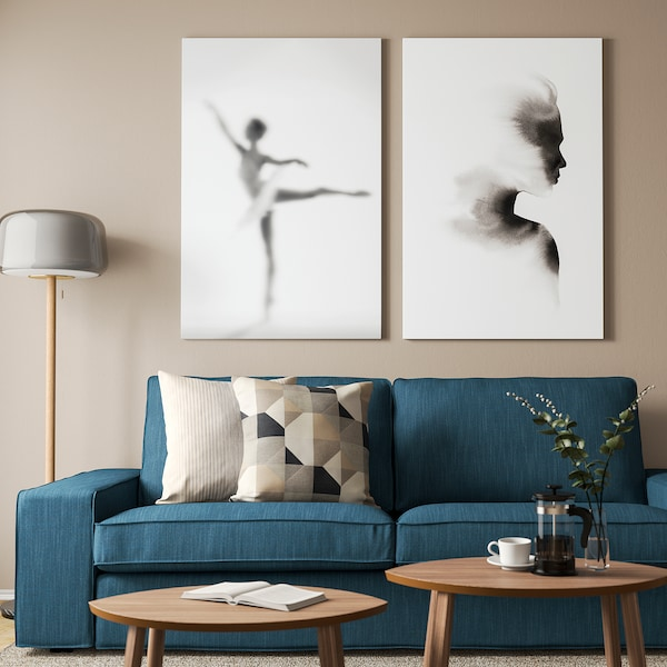 BJÖRKSTA Imagen+marco, reflejo evanescente/negro, 78x118 cm
