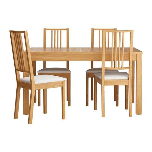 Bjursta b rje mesa con 4 sillas ikea for Sillas de madera ikea