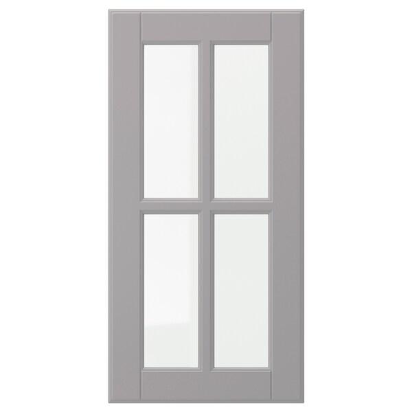 BODBYN Puerta de vidrio, gris, 30x60 cm