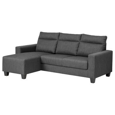 BOLLSTANÄS Sofá 3 plazas, +chaiselongue/Skiftebo gris oscuro