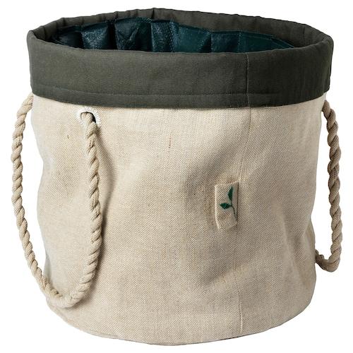 BOTANISK bolsa de jardinería beige/verde oscuro a mano 36 cm 36 cm 32 cm