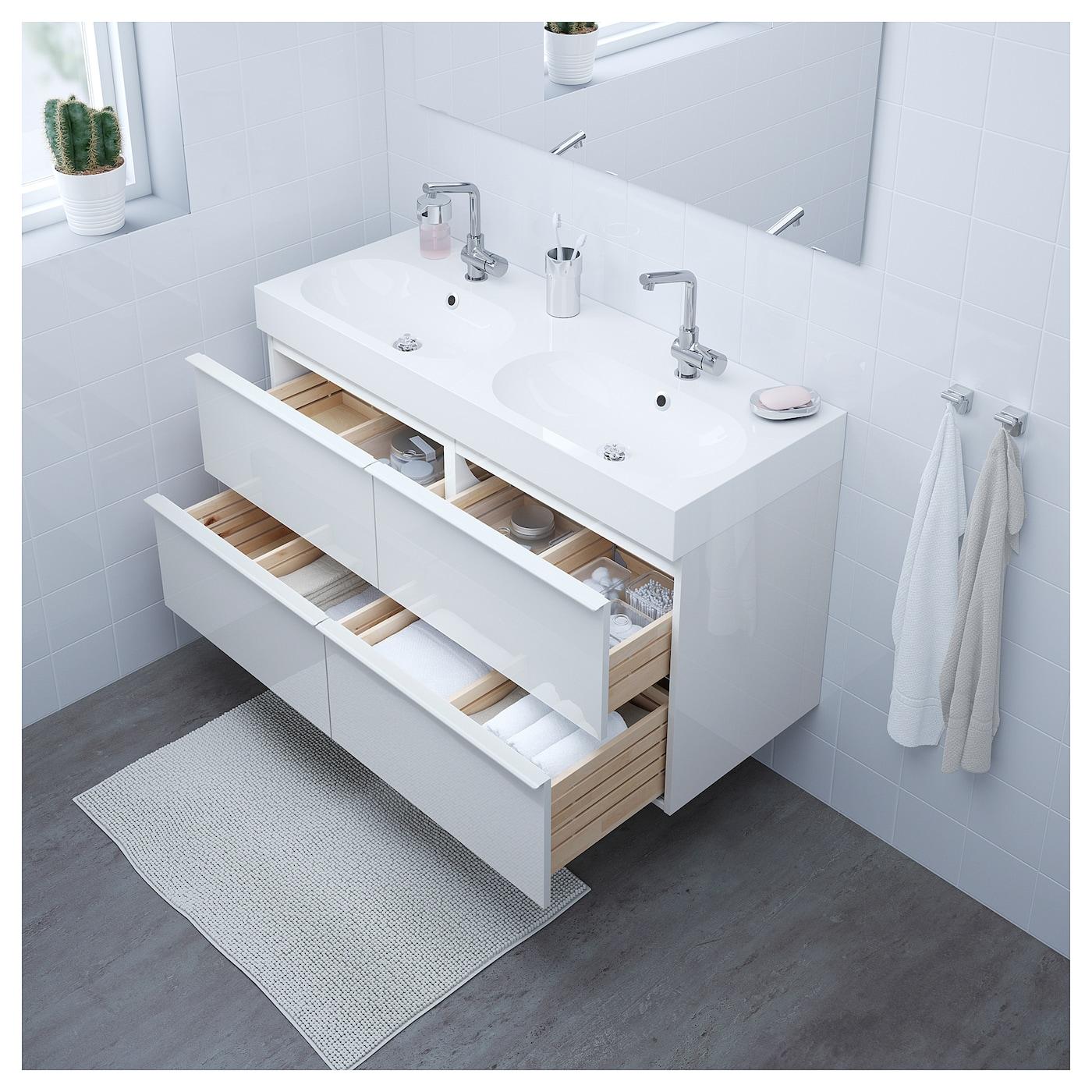 br viken godmorgon armario lavabo 4cajones alto brillo blanco 120 x 48 x 68 cm ikea. Black Bedroom Furniture Sets. Home Design Ideas