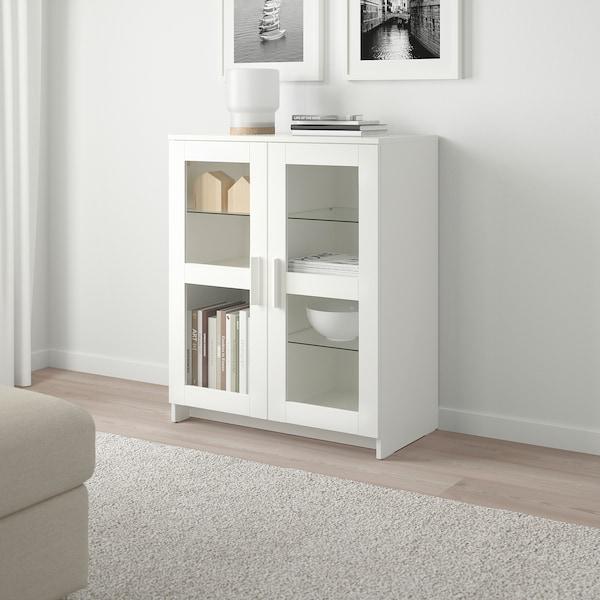 BRIMNES Armario con puertas, vidrio/blanco, 78x95 cm