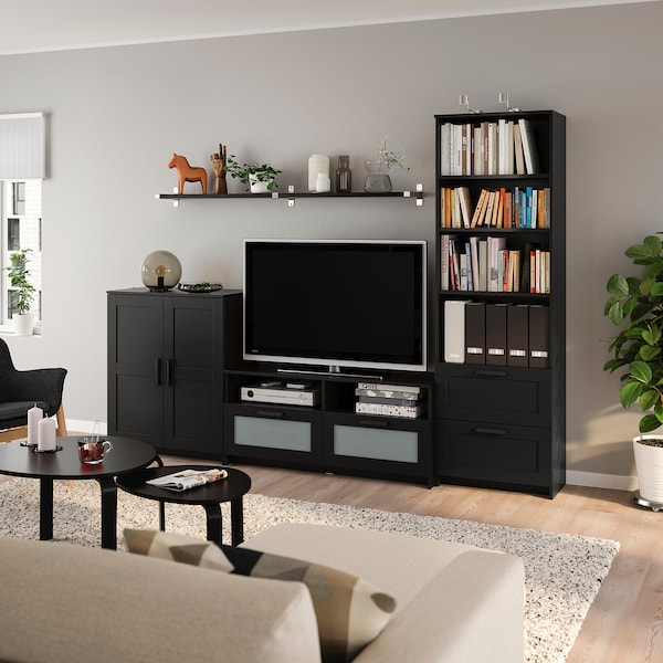 BRIMNES / BERGSHULT Mueble TV, negro, 258x41x190 cm