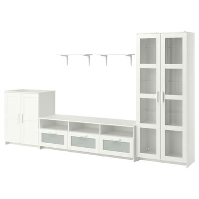 BRIMNES / BURHULT Mueble TV, blanco, 338x41x190 cm