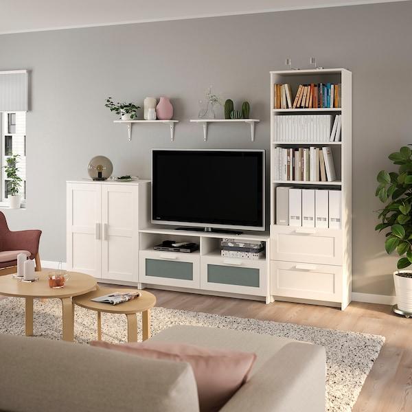 BRIMNES / BURHULT Mueble TV, blanco, 258x41x190 cm