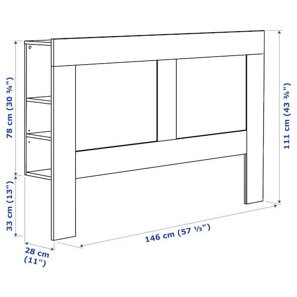 BRIMNES Cabecero con compartimento, blanco, 140 cm