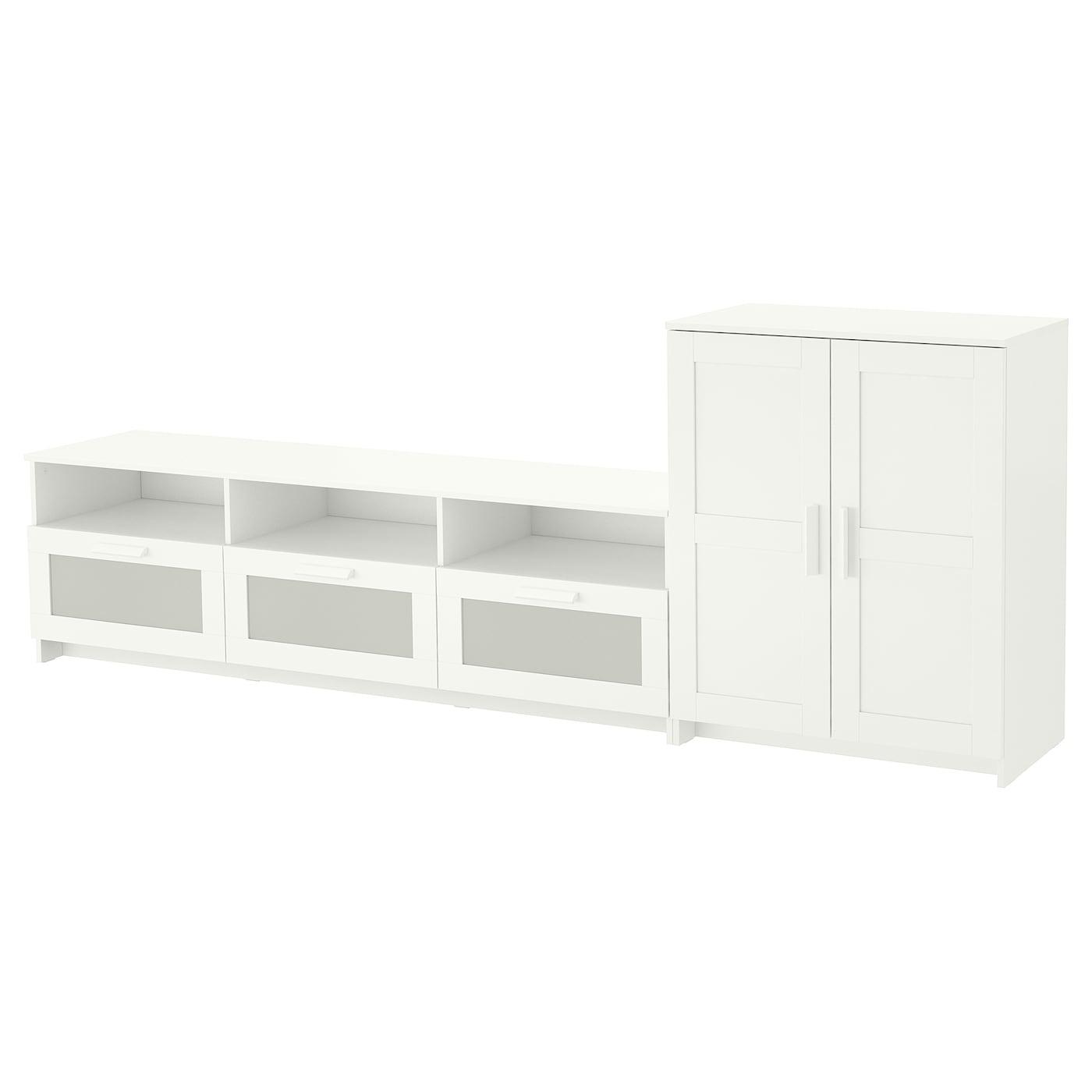 Brimnes mueble tv con almacenaje blanco 258 x 41 x 95 cm for Mueble tv ikea