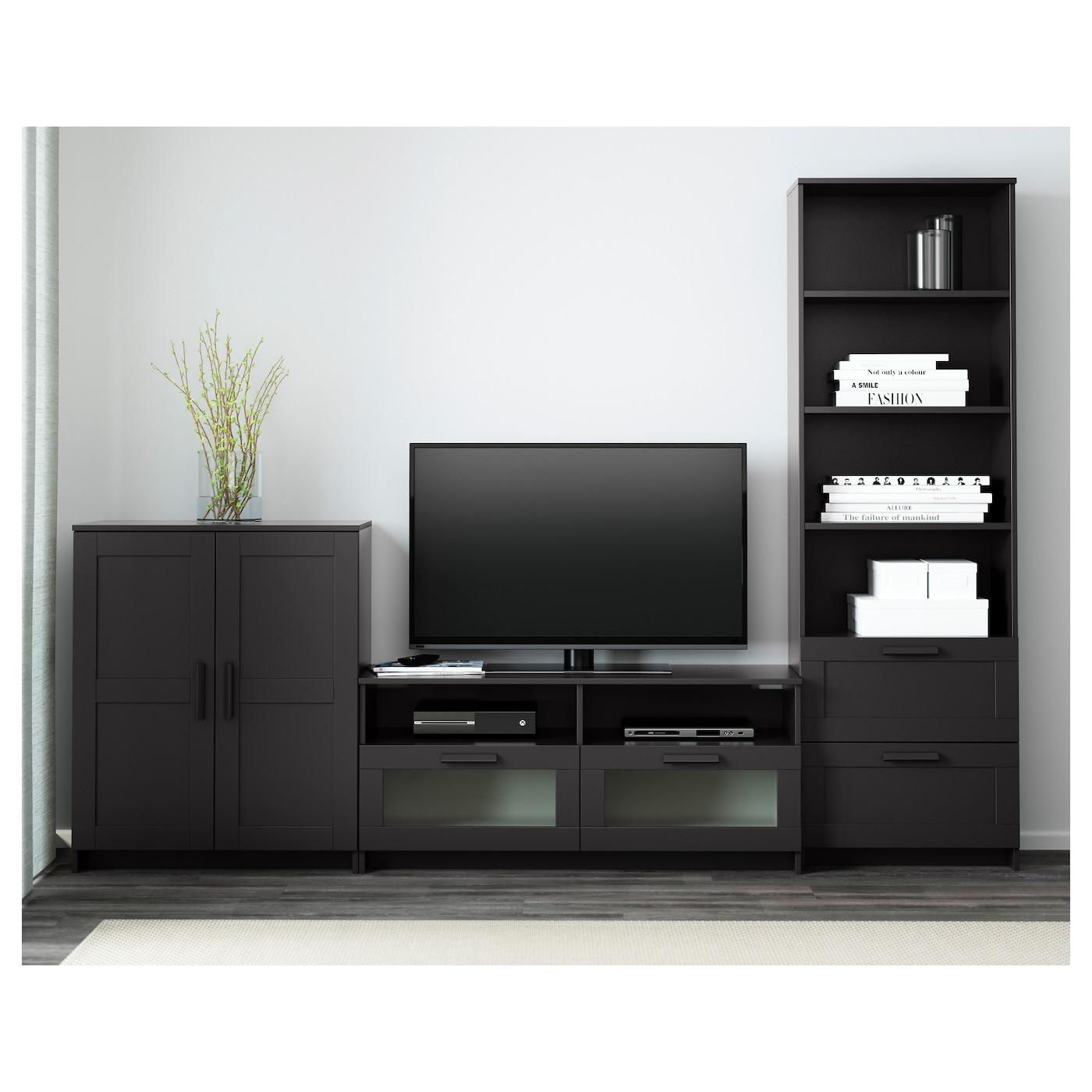 Brimnes mueble tv con almacenaje negro 258 x 41 x 190 cm for Mueble tv ikea
