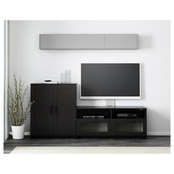 BRIMNES Mueble TV, negro, 200x41x95 cm