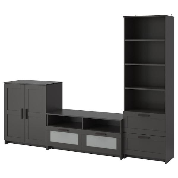 BRIMNES Mueble TV, negro, 258x41x190 cm