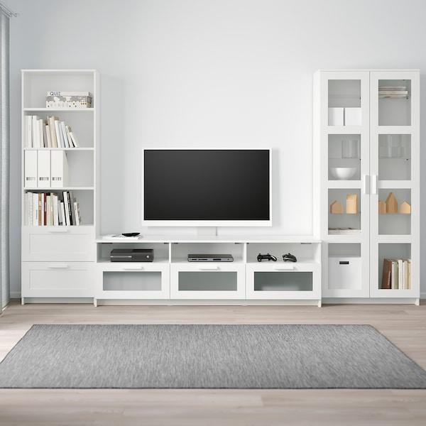 BRIMNES Mueble TV puertas vidrio, blanco, 320x41x190 cm