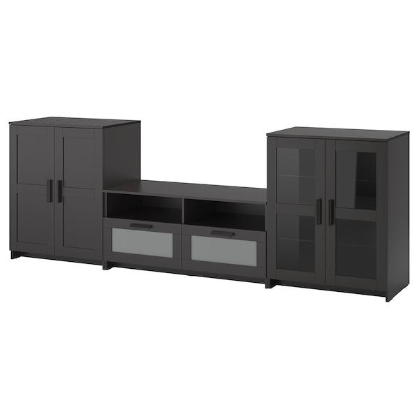 BRIMNES Mueble TV puertas vidrio, negro, 276x41x95 cm