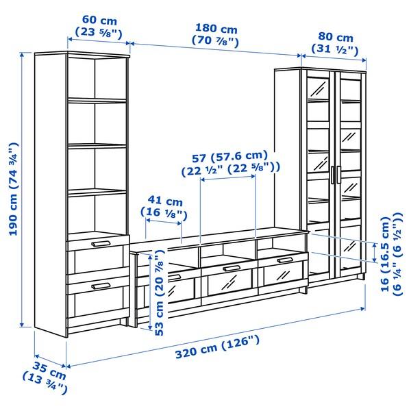 BRIMNES mueble TV puertas vidrio blanco 320 cm 41 cm 190 cm