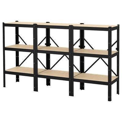 BROR Estantería, negro/madera, 194x40x110 cm