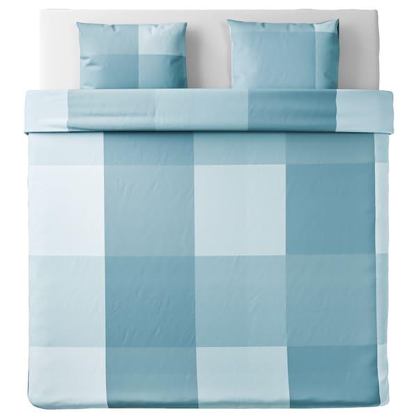 BRUNKRISSLA Funda nórdica +2 fundas almohada, azul claro, 240x220/50x60 cm