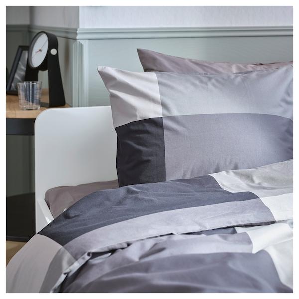 BRUNKRISSLA Funda nórdica y 2 fundas almohada, negro, 240x220/50x60 cm