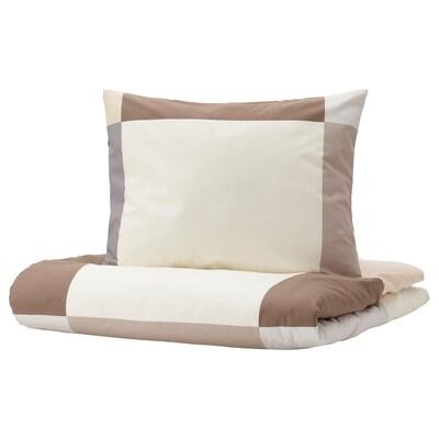 BRUNKRISSLA Funda nórdica +funda almohada, marrón, 150x200/50x60 cm