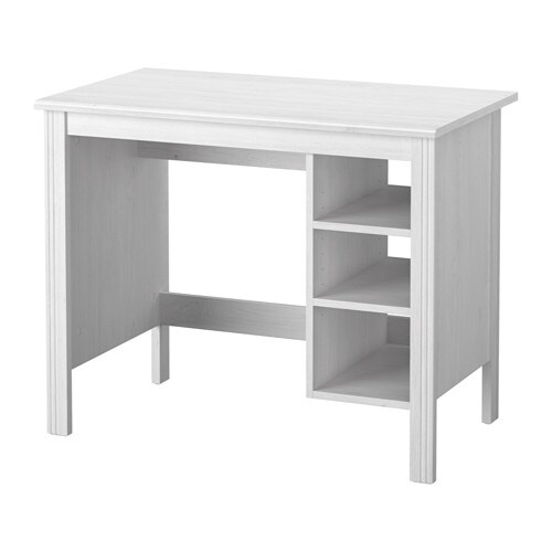 Brusali escritorio blanco ikea for Bureau 90 cm de long