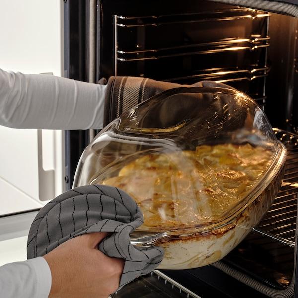 BUREN Fuente horno/servir con tapa, vidrio incoloro, 42x26 cm