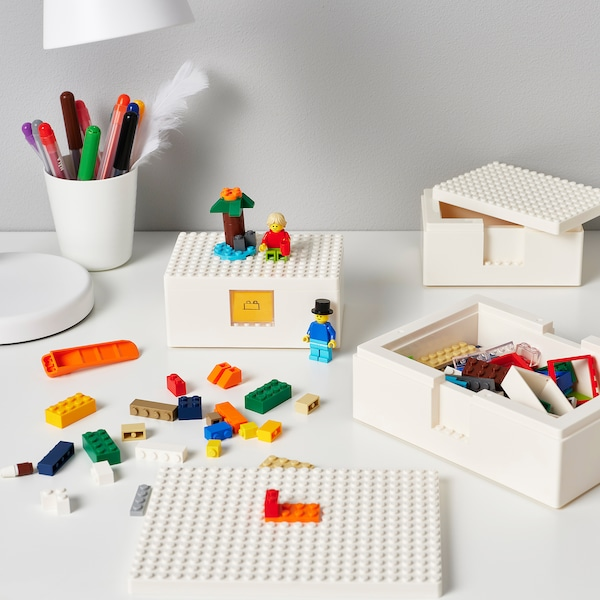 BYGGLEK LEGO® caja con tapa, jgo3, blanco