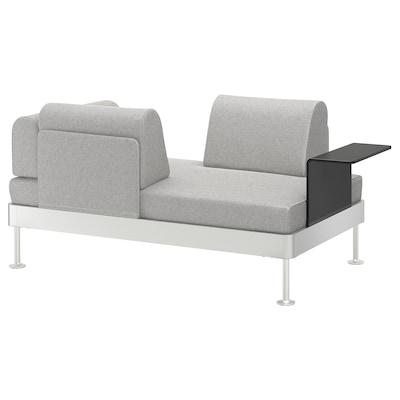 DELAKTIG Sofá 2 con mesa auxiliar, Tallmyra blanco/negro