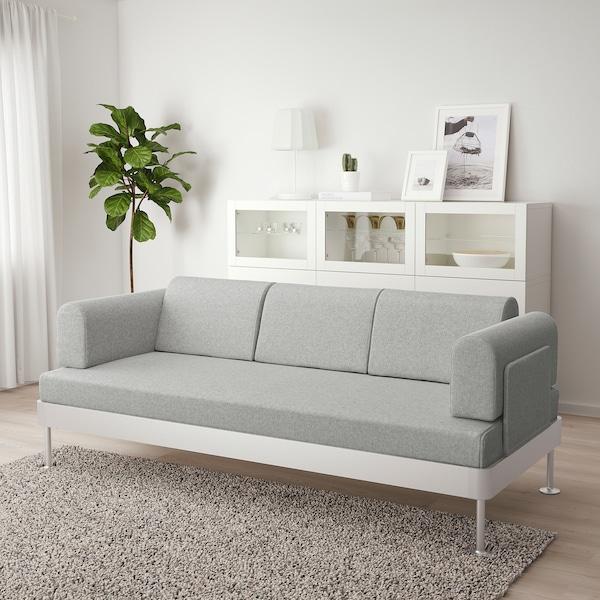 DELAKTIG Sofá 3 plazas, Tallmyra blanco/negro