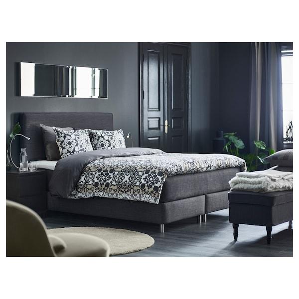 DUNVIK cama continental Hövåg extra firme/Tuddal gris oscuro 210 cm 160 cm 120 cm 200 cm 160 cm