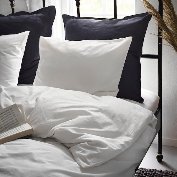DVALA Funda nórdica +funda almohada, blanco, 150x200/50x60 cm
