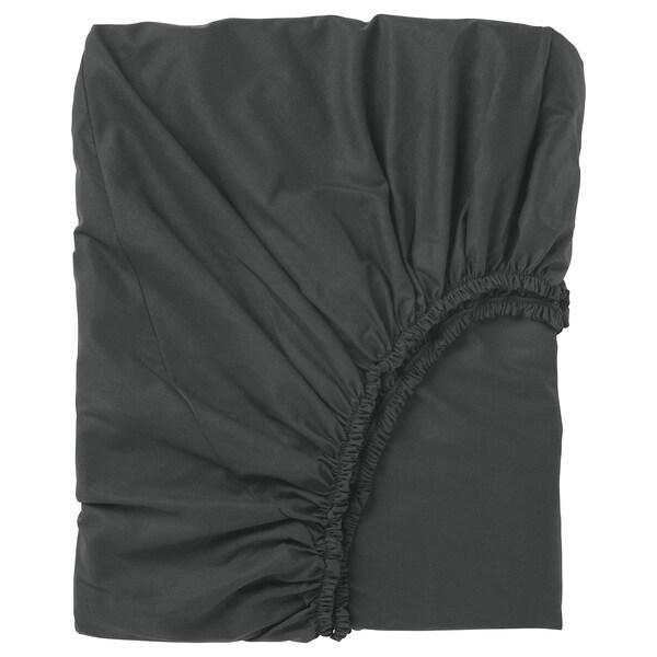 DVALA Sábana bajera ajustable, negro, 140x200 cm IKEA