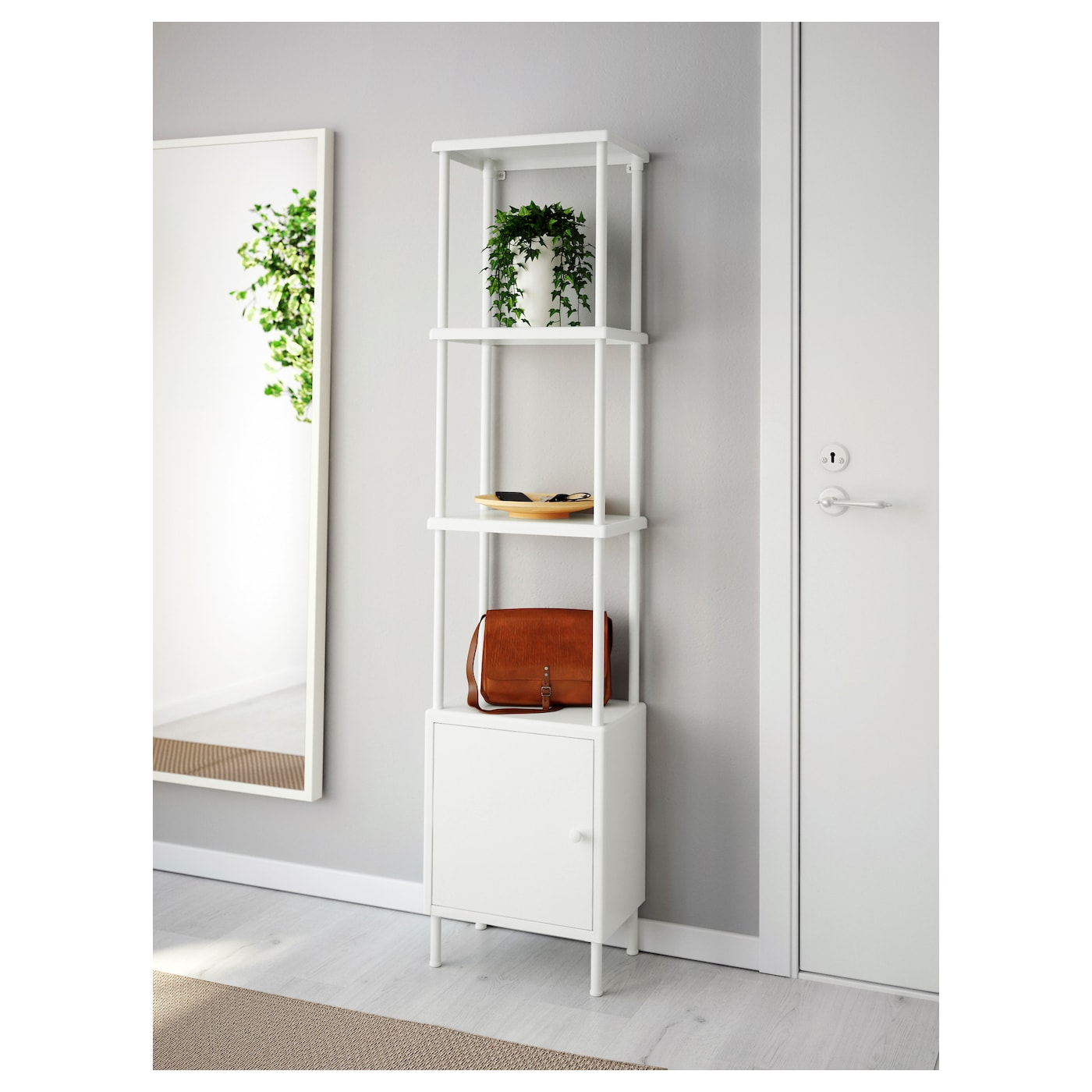 Dynan Estanteria Con Armario Blanco 40 X 27 X 174 Cm Ikea