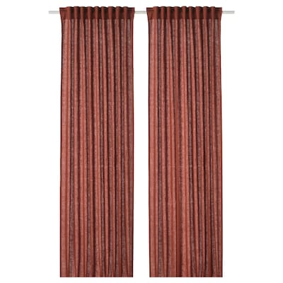 DYTÅG Cortina, 1par, marrón rojizo, 145x300 cm