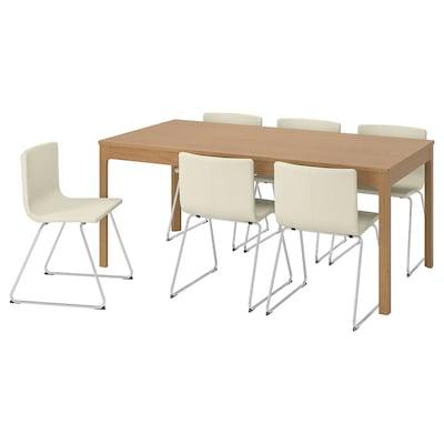 EKEDALEN / BERNHARD Mesa y 6 sillas, roble/Mjuk blanco, 180/240 cm