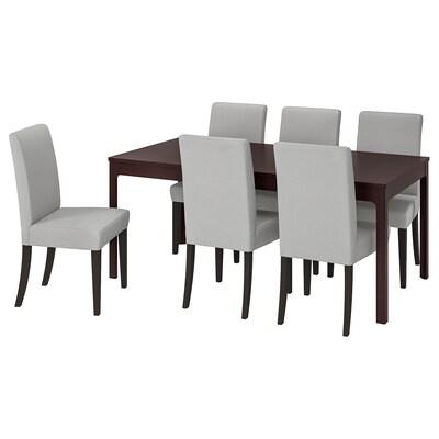 EKEDALEN / HENRIKSDAL Mesa y 6 sillas, marrón oscuro/Orrsta gris claro, 180/240 cm