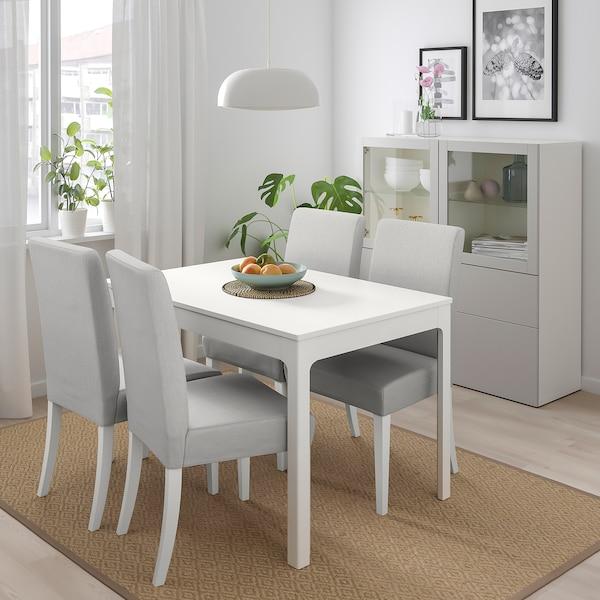 EKEDALEN / HENRIKSDAL Mesa con 4 sillas, blanco/Orrsta gris claro, 120/180 cm
