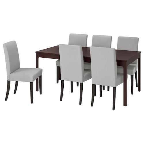 EKEDALEN / HENRIKSDAL mesa y 6 sillas marrón oscuro/Orrsta gris claro 180 cm 240 cm