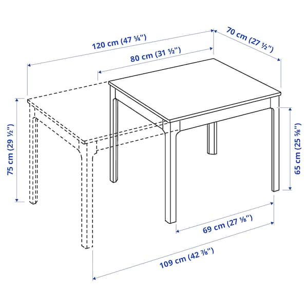 EKEDALEN Mesa extensible, blanco, 80/120x70 cm