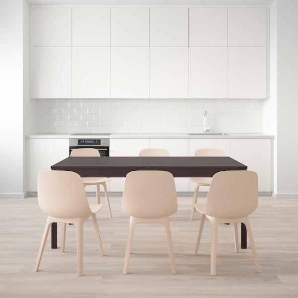 EKEDALEN / ODGER Mesa y 6 sillas, marrón oscuro/blanco beige, 180/240 cm