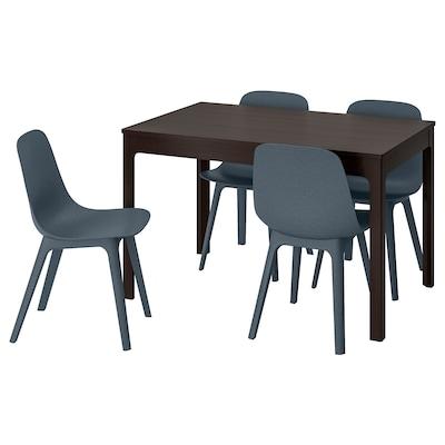 EKEDALEN / ODGER Mesa con 4 sillas, marrón oscuro/azul, 120/180 cm