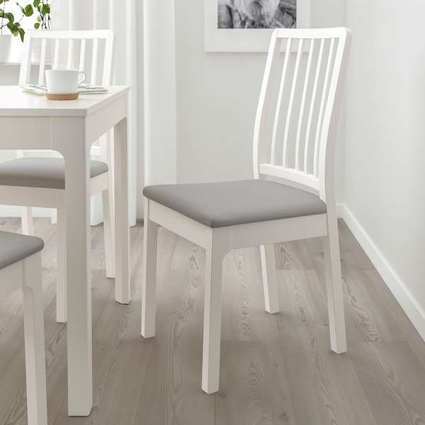 EKEDALEN Silla, blanco/Orrsta gris claro
